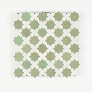 Berkane Mosaic Tile - Snow Cross and Avocado Star