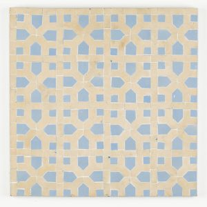 Tetouan Mosaic Tile - Clay Line and Blue Grass