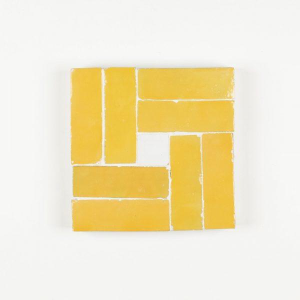 Tan-Tan Mosaic Tile - Mustard with Snow Dot