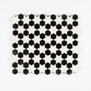 Sale Mosaic Tile - Snow Hex and Black Star